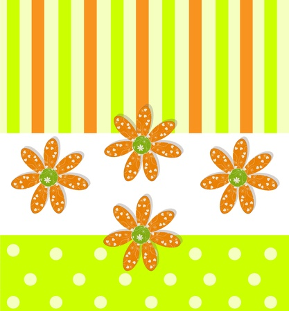 Beautiful greeting background with flowers, ribbons and circles, vector illustration