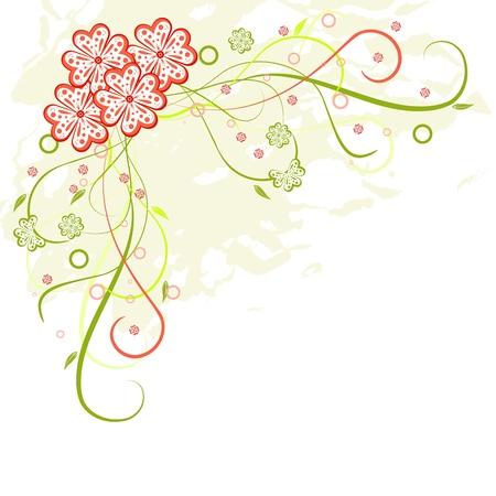 Grunge floral  frame with flowers, scrolls and leaf, vector illustration