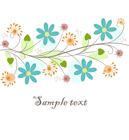 Beautiful background with fantastic flowers and scroll, free composition, for your design Illustration