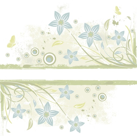 Abstract grunge background with flowers, scroll and leaf ,  Illustration