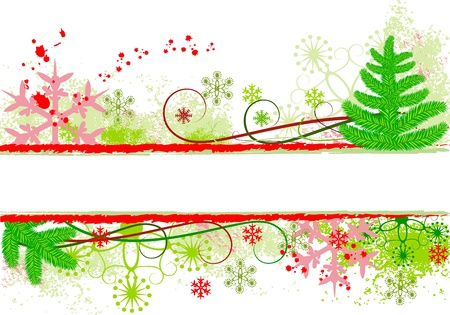 Beautiful christmas background with fantastic snowflakes, scroll, grunge and christmas tree, isolated on white Illustration