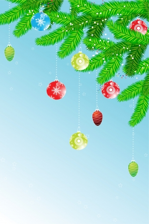 Beautiful christmas background with fir branch, christmas-tree decorations and snow, for your design
