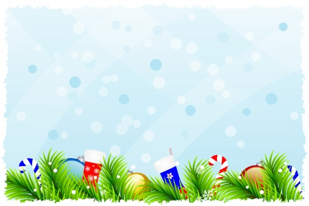 Christmas background with fir branches, Christmas-tree decorations,  snowflakes, grunge frame and candy on light blue background, vector illustration Illustration