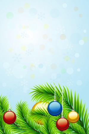 christmastree: Beautiful christmas background with christmas-tree decorations, fir branches, snowflakes and bubbles  for your design.