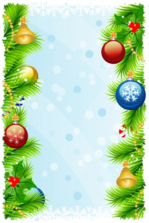 Greeting Christmas background with fir branches, Christmas-tree decorations,  snowflakes, candyes, colored bubble, mistletoe and grunge frame on a light blue background.  Illustration