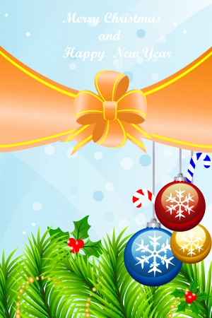 Beautiful greeting card with Christmas-tree decorations