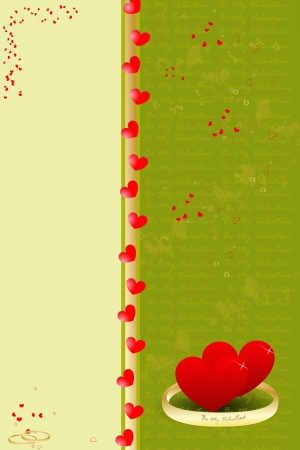 Template Valentine background with a hearts and ring,  illustration Illustration