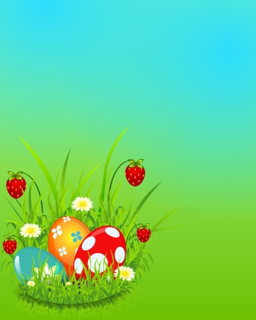 Beautiful Easter background strawberry and coloured eggs  for your design. Illustration