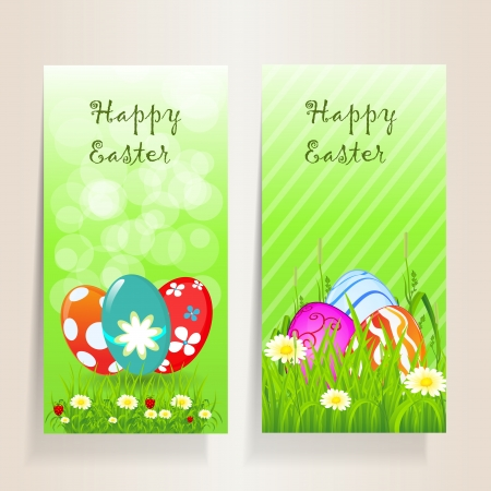 Two beautiful Easter background with floral,grass, strawberry and coloured eggs, for you design.