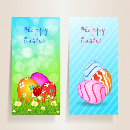 Two beautiful Easter background with flower, grass, strawberry and coloured eggs, for you design, illustration