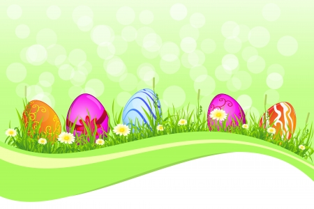 Beautiful Easter template with grass, flowers and ccoloured eggs  for your design and greeting card Illustration