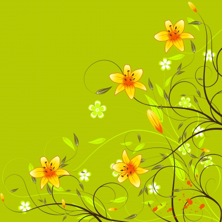 Background or template card with orange lilyes, flower, leafs and scroll on a green background for your design