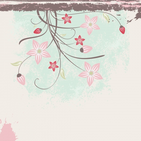 Beautiful floral background with grunge, ink, flower, bud, scroll on a pastel color  for your design or wedding invitation Illustration