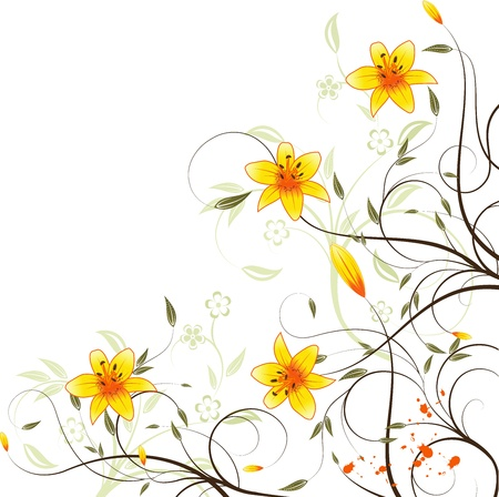 Background or template card with orange lilyes, flower, leafs and scroll isolated on white for your design Illustration