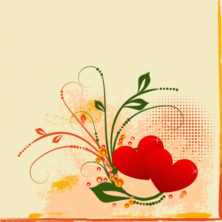 Valentine grunge background with heart, scroll, leaf and  floral