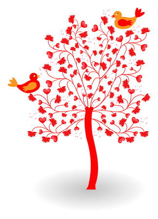 Vatentine tree with heart, flower and bird, isolated on white