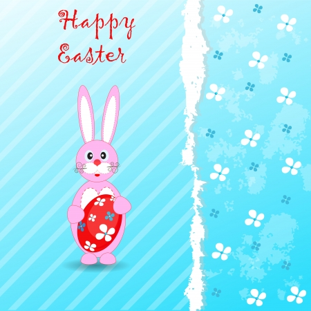 Easter grunge background with flower, egg and pretty Easter rabbit, vector illustration