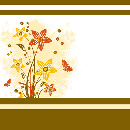 Template floral background with flower, scroll, leaf, and butterfly  Illustration