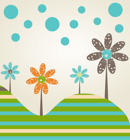 Colored floral background with fantastic tree for baby greeting card  Illustration