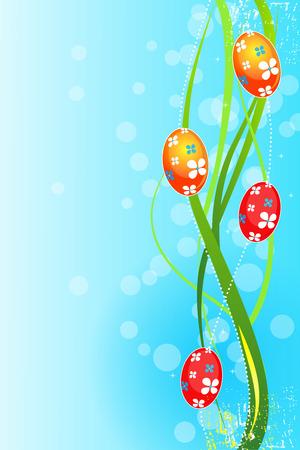 Easter grunge background with Easter eggs , vector illustration