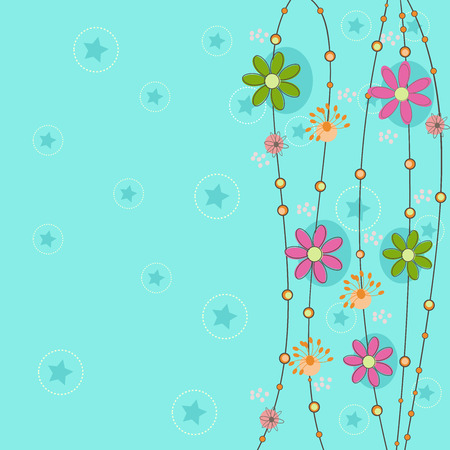 cyan greeting background with fantastic flower and  dandelion for invite, greeting card Illustration