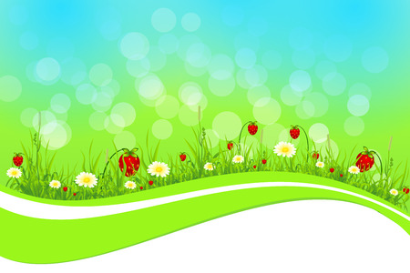Background with flower, strawberry, grass and bubble