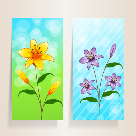 Two flower banner with beautiful lilies Illustration