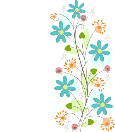floral Background with flower, leaf and dandelion isolated on white Illustration