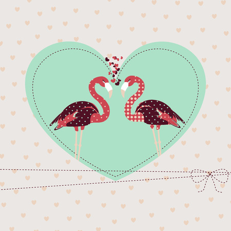 Template Valentine background with loving  pair flamingo for your greeting card