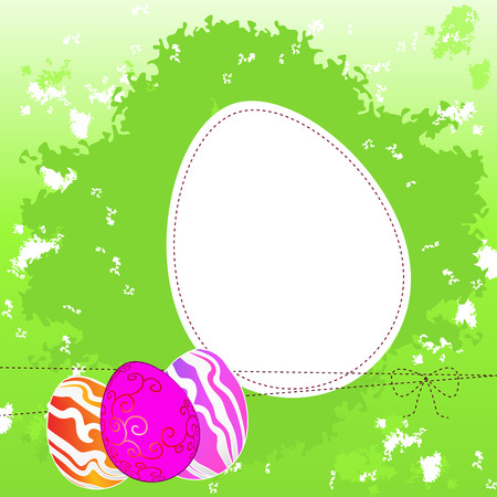 Easter greeting template with colored eggs on a green grunge background, vector illustration Illustration