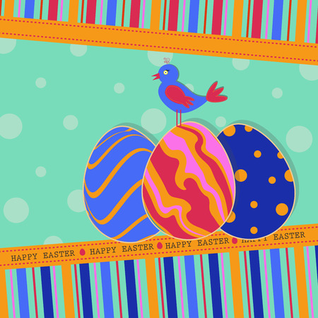 Colorful greeting Easter background for your card or other design Illustration