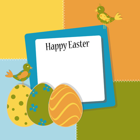 Colored Easter template with colored bird and colored eggs, vector illustration Çizim