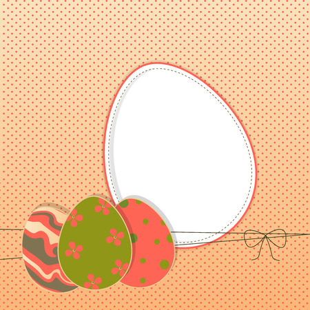 Easter background with colored eggs for your greeting card or other design