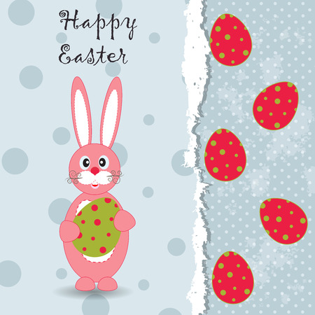 Easter grunge background with pretty Easter rabbit and egg for your greeting card or other design