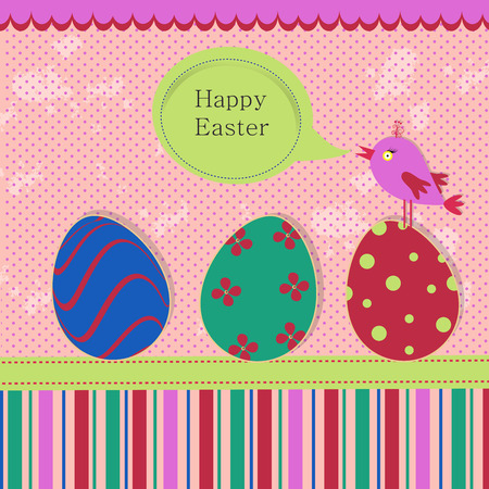 Greeting template with colored eggs and bird on a spotted grunge background for your greeting card, invite or other your design Illustration