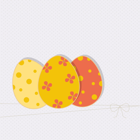 Easter template with three colored eggs for your greeting card, invite or your other design, vector illustration