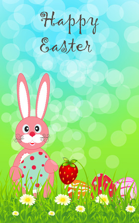 babble: Greeting template with colored eggs and pretty rabbit on a colored background for your greeting card, invite or other your design