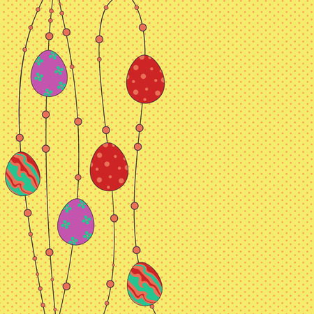 Easter greeting background with colored eggs on a spotted background, vector illustration