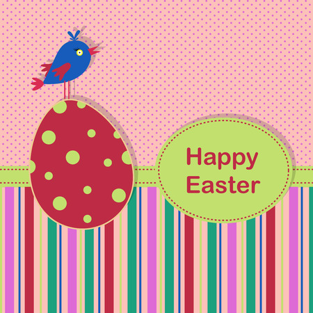 Easter greeting background with spotted eggv and colored bird on a spotted and stripe background for your greeting card or other your design