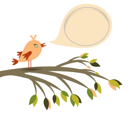 Colored bird on a branch tree and speech bubble isolated on white, vector illustration Illustration
