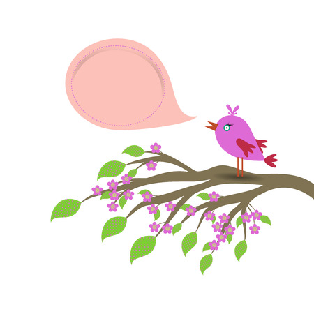 Spring background with colored bird , branch of tree, spotted leaf, flower and speech bubble isolated on white Illustration