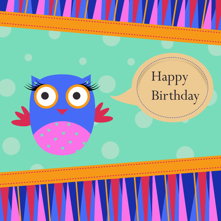 Template Bithday greeting card with colorful owl on spotted background