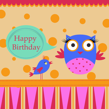 Template Birthday greeting card with colorful owl and bird