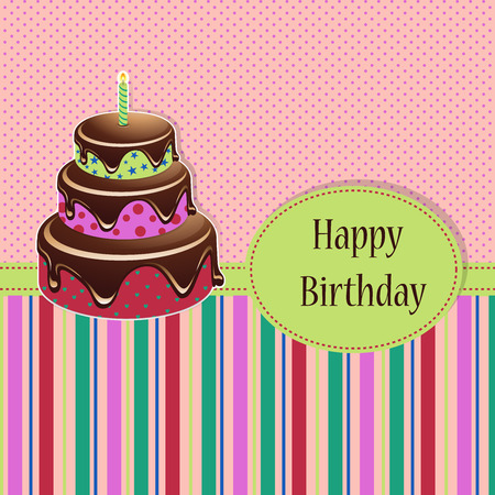 Birthday template with birthday cake on a colored background illustration Illustration