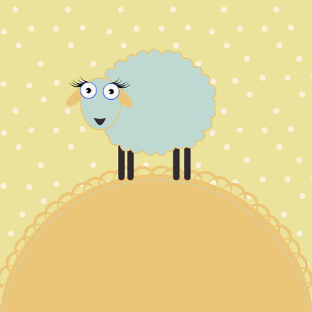 Baby background with sheep on a spotted background Illustration