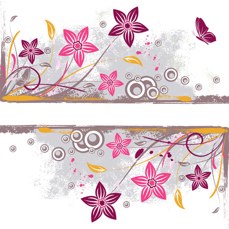 Grunge background with colored flower, scroll and butterfly isolated on white illustration Illustration