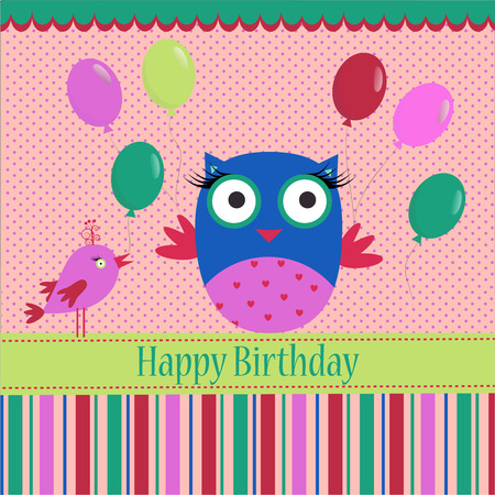 Birthday template with colorful owl, bird and bubbles on a spotted background