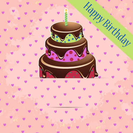 Greeting template with colored birthday cake in a pocket on a grunge background