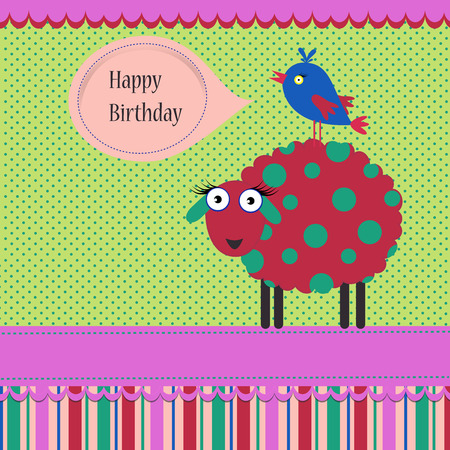 Birthday background with colorful silly sheep and bird on a spotted background