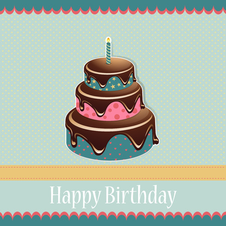 Birthday template with birthday cake on a spotted background